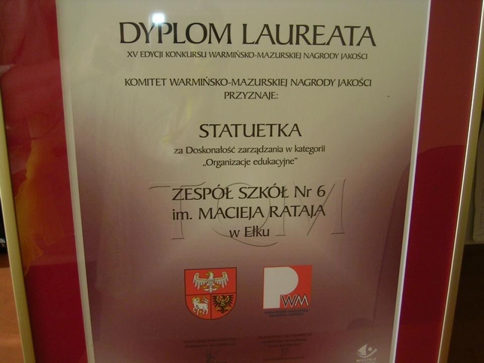 Nagroda Jakości dla ZS 6
