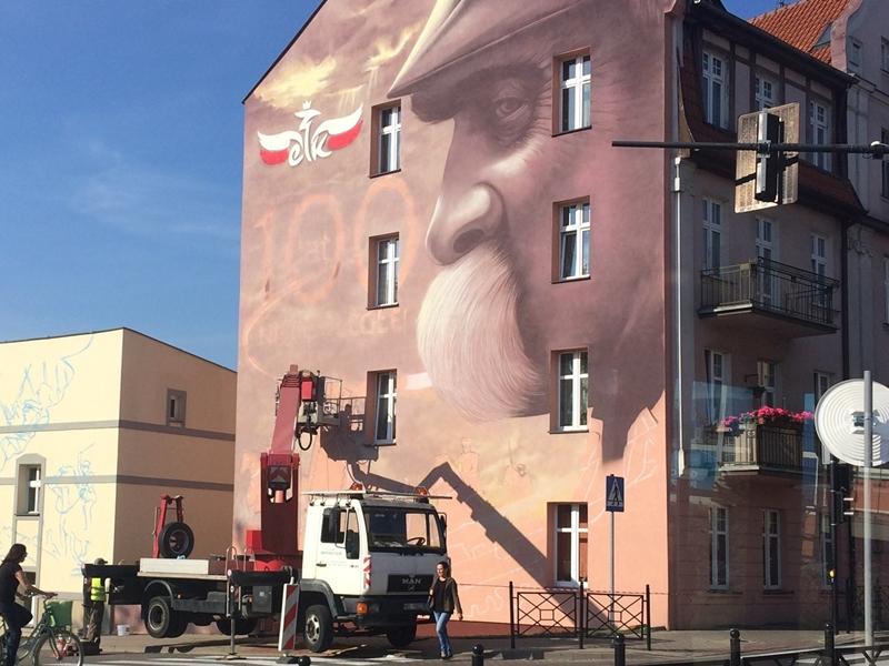 Kolejny mural w Ełku - bohaterem Piłsudski